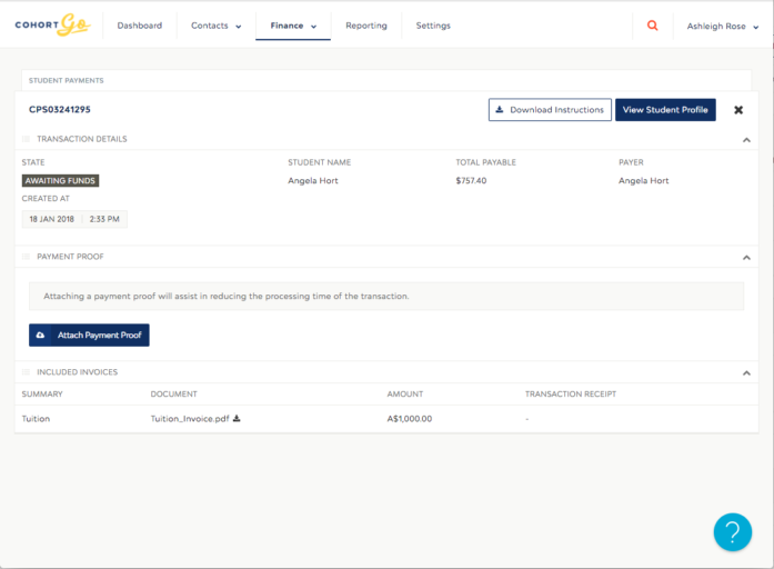 New features - Education provider and agent view attach payment proof